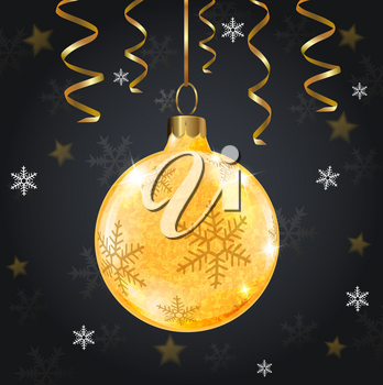 Golden shining Christmas decoration and ribbons on a black background. Design for Christmas card.