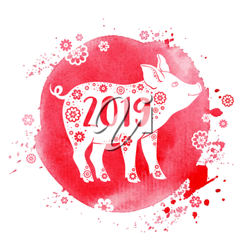 Cute pig symbol of Chinese zodiac for 2019 new year. Silhouette of pig on a pink watercolor background. Hand drawn vector illustration