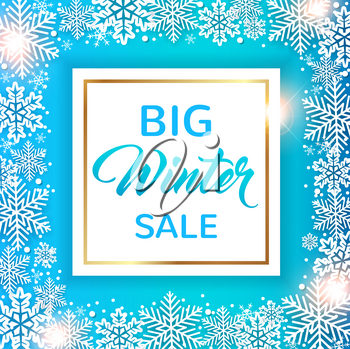 Decorative winter frame with white snowflakes on a blue background. Design for seasonal Christmas sale. Vector illustration