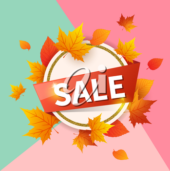 Abstract round banner for seasonal fall sale. Autumn vector background with orange falling maple leaves.