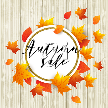 Autumn vector wooden background with orange maple leaves. Abstract round golden banner for seasonal fall sale.