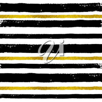 Vector abstract striped seamless pattern. Decorative grunge background with black and golden strips