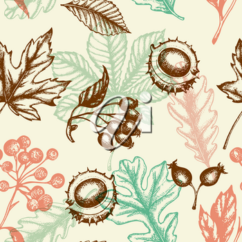 Autumn seamless pattern with chestnut, oak and maple falling leaves. Hand drawn seasonal vector background in vintage style.