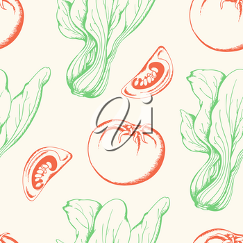Vintage vegetable seamless pattern with red tomato and green salad