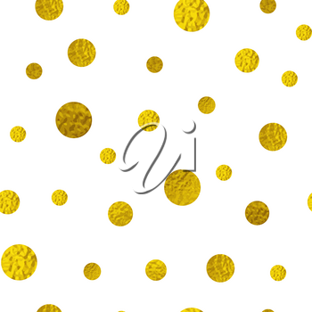 Abstract vector seamless pattern with golden glitter circles on a white background