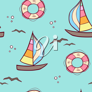 Doodle seamless pattern with sailing ship and lifebuoy on a green background. Vector illustration.
