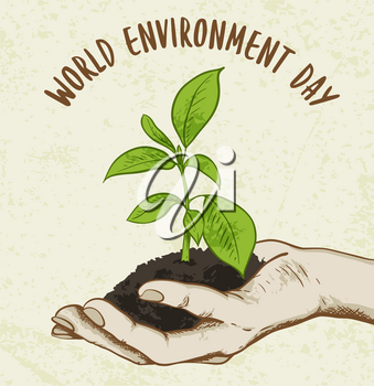 Background with green plant in human hand. Ecology concept for world environment day.