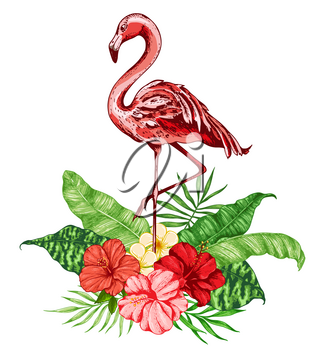 Summer background with pink flamingo, red tropical flowers and green palm leaves. Vector illustration