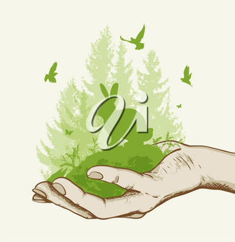 Green fir tree, rabbit and birds in the hand. Ecology concept. Vector illustration