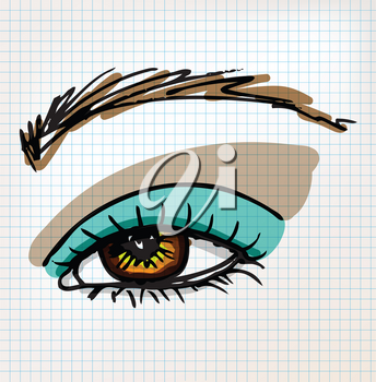 Female eye sketch illustration