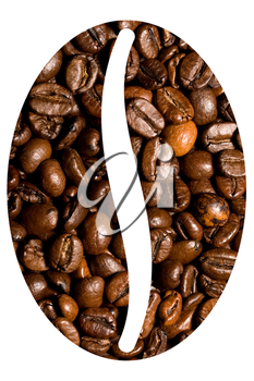 background of brown roasted coffee beans close-up