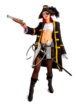 sexy girl in a pirate costume and a cocked hat stands armed with a pistol on a white background in high heels