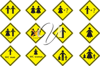 Vector image of yellow marks with man and female in different situation.
