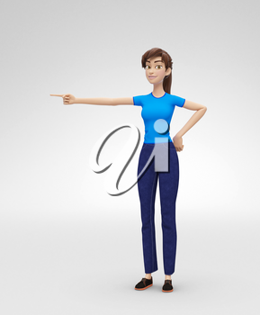 3D Rendered Animated Character in Casual Clothes, Isolated on White Spotlight Background