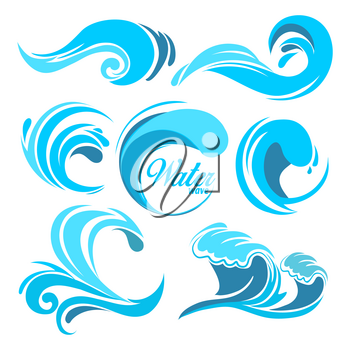 Water splashes and ocean waves. Vector graphic symbols for logo design. Wave water sea swirl, collection of nature, water wave illustration