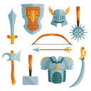 Fantasy weapons in cartoon style. Vector illustrations set. Sword weapon and medieval ancient axe