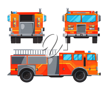 Different sides of fire truck. Specific professional car for fireman. Vector car fire, alarm automobile with ladder illustration