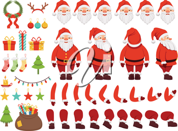 Mascot creation kit of christmas character. Santa in different keyframes. Santa claus with beard in xmas costume. Vector illustration