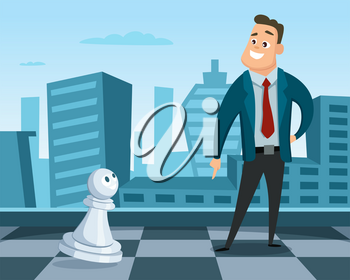 Businessman standing on a chess board. Concept illustration of business strategy. Leadership and excellence. Businessman leadership on chessboard, strategy business competition vector