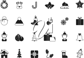 Christmas icons. Bells santa elf celebration gifts green tree candied december winter season items and vector symbols. Illustration of monochrome xmas candle and reindeer, snowman and christmas