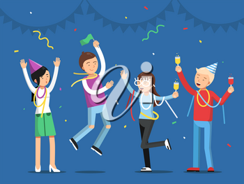 Funny people celebrating on the party. Mascot designs in flat style. Party and celebration, people dance and joy. Vector illustration