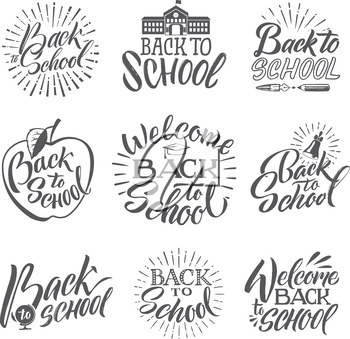 Back to school. Set of hand writing words and letters. Welcome to school writing sketch text, vector illustration