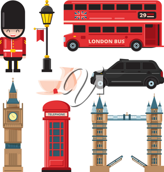 Landmarks and different culture objects of london. Travel landmark england culture and tourism. Vector illustration