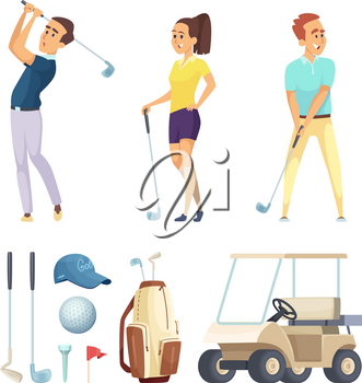 Sport characters and various tools for golf players. Vector cartoon mascots. Illustration of sport player golf, leisure golfer, play and recreation