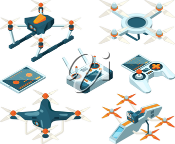 Isometric 3d pictures of drone copters. Vector quadcopters, unmanned aircrafts or remote flight robot with camera illustration