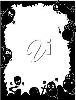 Hand drawing cartoon Halloween frame with cute ghost silhouettes and graveyard.