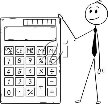 Cartoon stick man drawing conceptual illustration of businessman standing with big electronic calculator with empty or blank display.