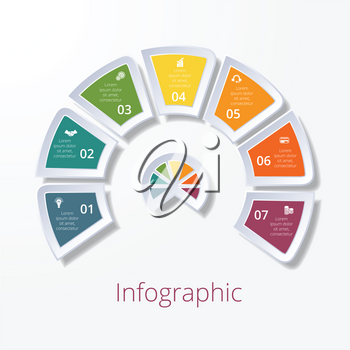 Template infographic, semicircle diagram with seven multicolored elements around center. Business strategy.