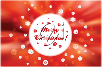 Christmas snowflakes around round white frame on red abstract beautiful background. Vector illustration.