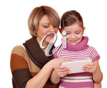 little girl and mother play with tablet pc