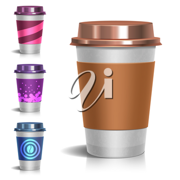Realistic paper take-out coffee cup. Set of paper mug for coffee illustration
