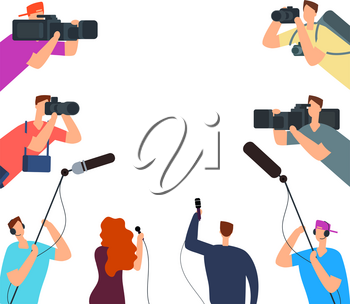 Broadcast interview. Tv journalists with camera and microphones online. News on air vector concept. Journalist interview live, journalism and reporter illustration