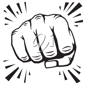 Punching fist hand vector illustration. Human protest symbol or strong strike