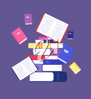 Flying books. Book pile library, literature and readers. Scholarship and intellectual reading education vector concept. Illustration of pile book for study, stack textbook