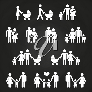 Baby and parents outline icons design - white family pictograms. Vector illustration