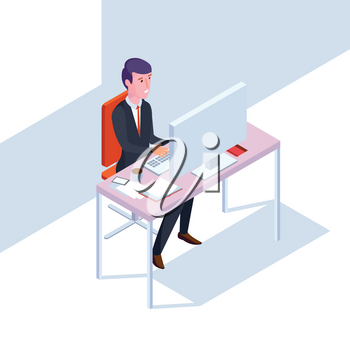 Isometric SEO businessman at work. Flat style office vector illustration. Man in office work at computer