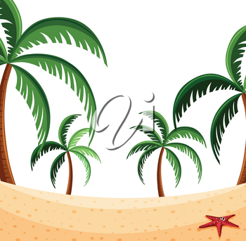 A beach nature scene illustration