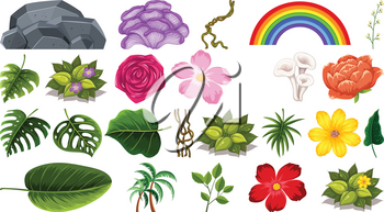 Set of flowers and leaves illustration