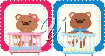 Teddy bears in pink and blue illustration