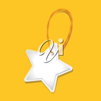 White star tag on yellow background illustration