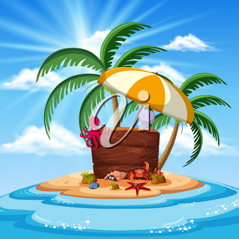 An Island with Sea Animals Banner illustration