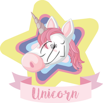 Unicorn on colorful star with word illustration