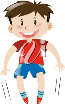 Little boy in red shirt jumping illustration
