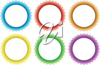 Six round frame in different colors illustration