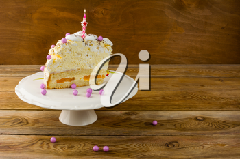 Burning candle on Birthday cake, copy space. Birthday Cake. Meringue cake. Pavlova. Birthday background.  Birthday card.
