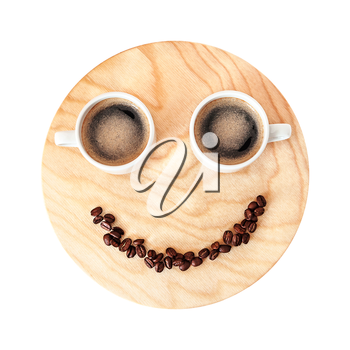 Funny coffee break concept on wooden background isolated on white. Morning coffee cup. Coffee break for two persons
